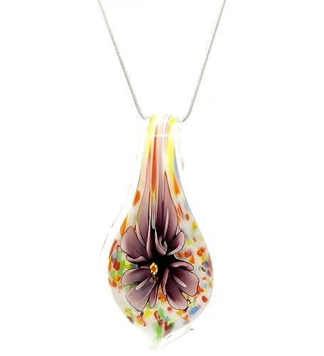 55bb600658b9 Motivos florales largo en forma de lágrima de cristal persiana veneciana de  Murano con forma de diseño de flores collar con colgante en forma  Stylish  ...