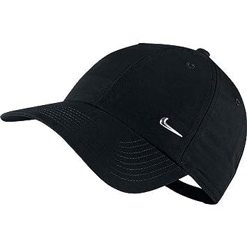 d1d3694276143 Nike Swoosh Casquette réglable Mixte, Noir/Argent Métallique, FR Fabricant  : Taille Unique