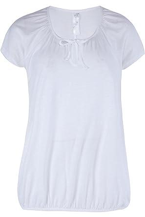 1de7257f9a White Short Sleeve Stretch Slub Cotton Elasticated Hem Gypsy Top Tunic Plus  Size 16 - 36 (28)  Amazon.co.uk  Clothing