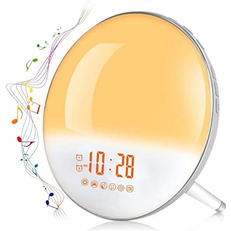Te-Rich 2019 Wake Up Light Luz Despertador Simulación del Amanecer y Anochecer Luz LED con 2 Alarmas y 7 Sonidos Naturales,Radio FM Digital,7 colores ...