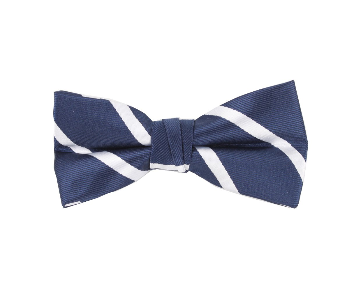 Born to Love - Boys Kids Pre Tied Bowtie Christmas Holiday Party Dress Up Bow Tie (Medium, Navy White Stripes)