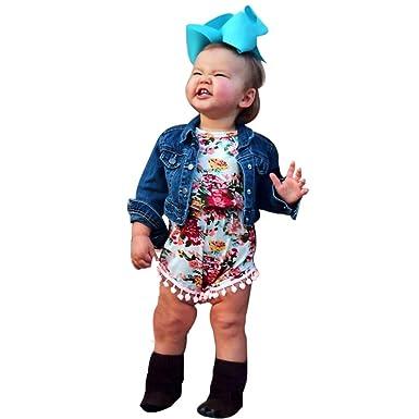 7c07d2a4795b Amazon.com  SMTSMT Girls Floral Bodysuit Romper Jumpsuit Sunsuit Clothes  Set  Clothing