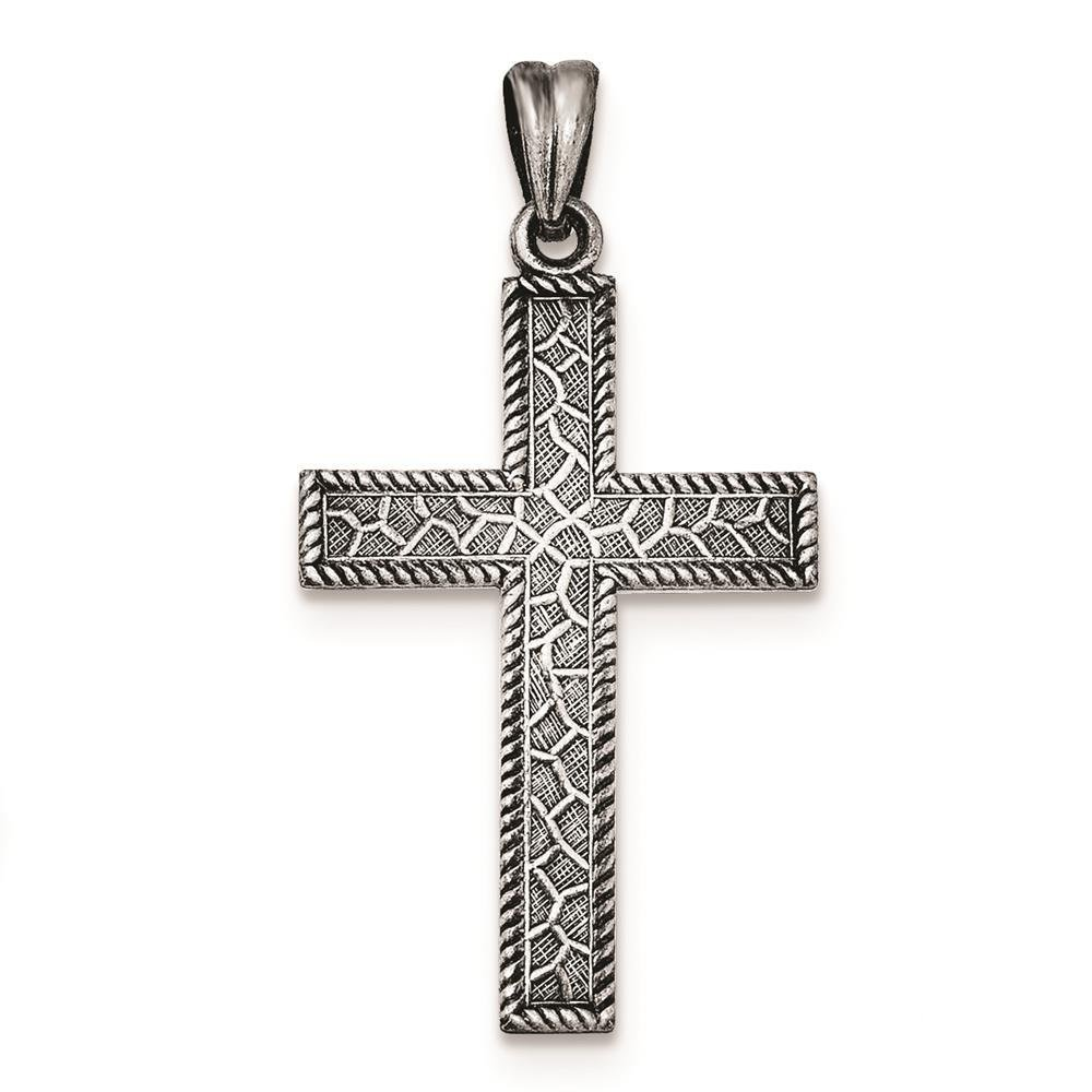 925 Sterling Silver Antiqued Polished Brushed Latin Cross Flat-back Charm Pendant
