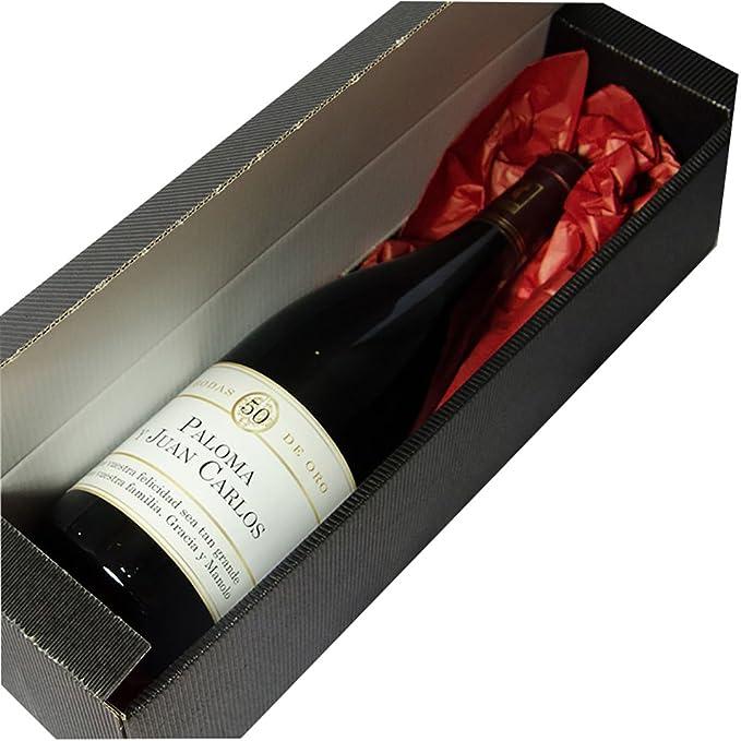 Calledelregalo Regalo Personalizable para Parejas por Sus Bodas de Oro: Botella de Vino Personalizada con Sus Nombres y la dedicatoria Que tú Quieras