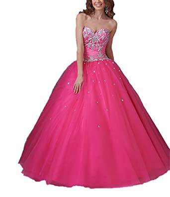 Dexin Womens Sweetheart Vestidos 15 Party Ball Gown Quinceanera Dresses 2 US Fuchsia