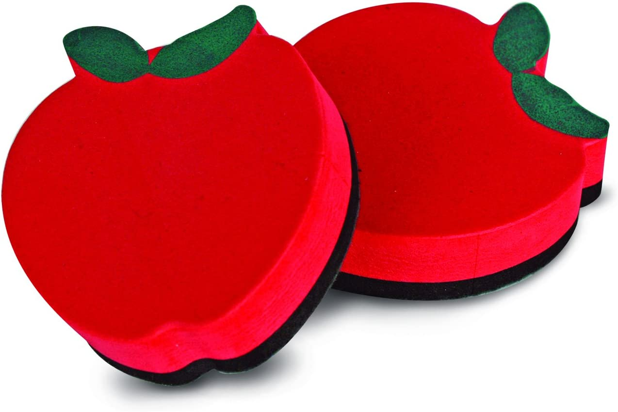 The Classics Magnetic Whiteboard Eraser Apple Shape, 3-Inch Size, Red, 12 Erasers per Pack (TPG-324B)