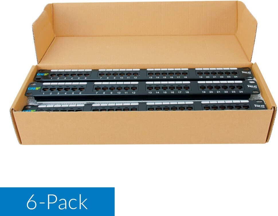 ICC CAT5e Patch Panel with 24 Ports and 1 RMS in 6-Pack