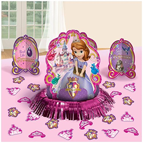 Disney Sofia The First Princess Birthday Party Table Decorating Kit Assorted Decoration (23 Pack), Multi Color, (Sofia The First Centerpieces)