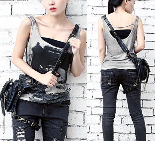FiveloveTwo Drop Women Retro Tactical Arm Men Messenger Bag Halloween Shoulder Belt Multi Pack Black Bag Fanny Hip purpose Leg Waist Punk 8wg8qxr