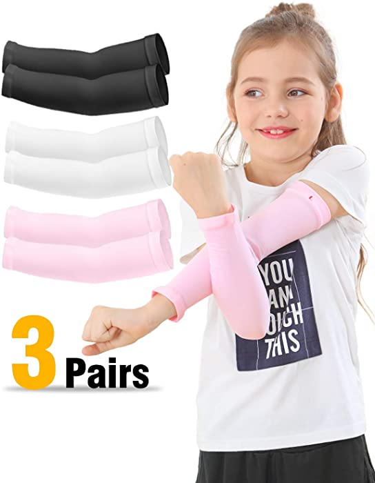 Newbyinn Arm Sleeves for Kids 3 Pairs/ 4 Pairs, UV Protection Sun Sleeves to Cover Arm, UPF 50 Sunblock and Protective Arm Sleeves