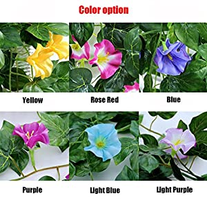 "XHSP 2 Bunches Artificial Vines 35.4"" Morning Glory Hanging Plants Silk Garland Fake Green Plant Home Garden Wall Fence Stairway Outdoor Wedding Hanging Baskets Decor 4"