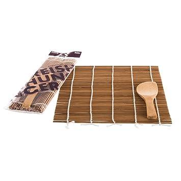 Amazon De Reishunger Sushi Rollmatte Aus Bambus Mit Loffel 24x24cm