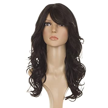 One Size. Black /& Grey Human Hair Bob Wig with Side Fringe Unisex