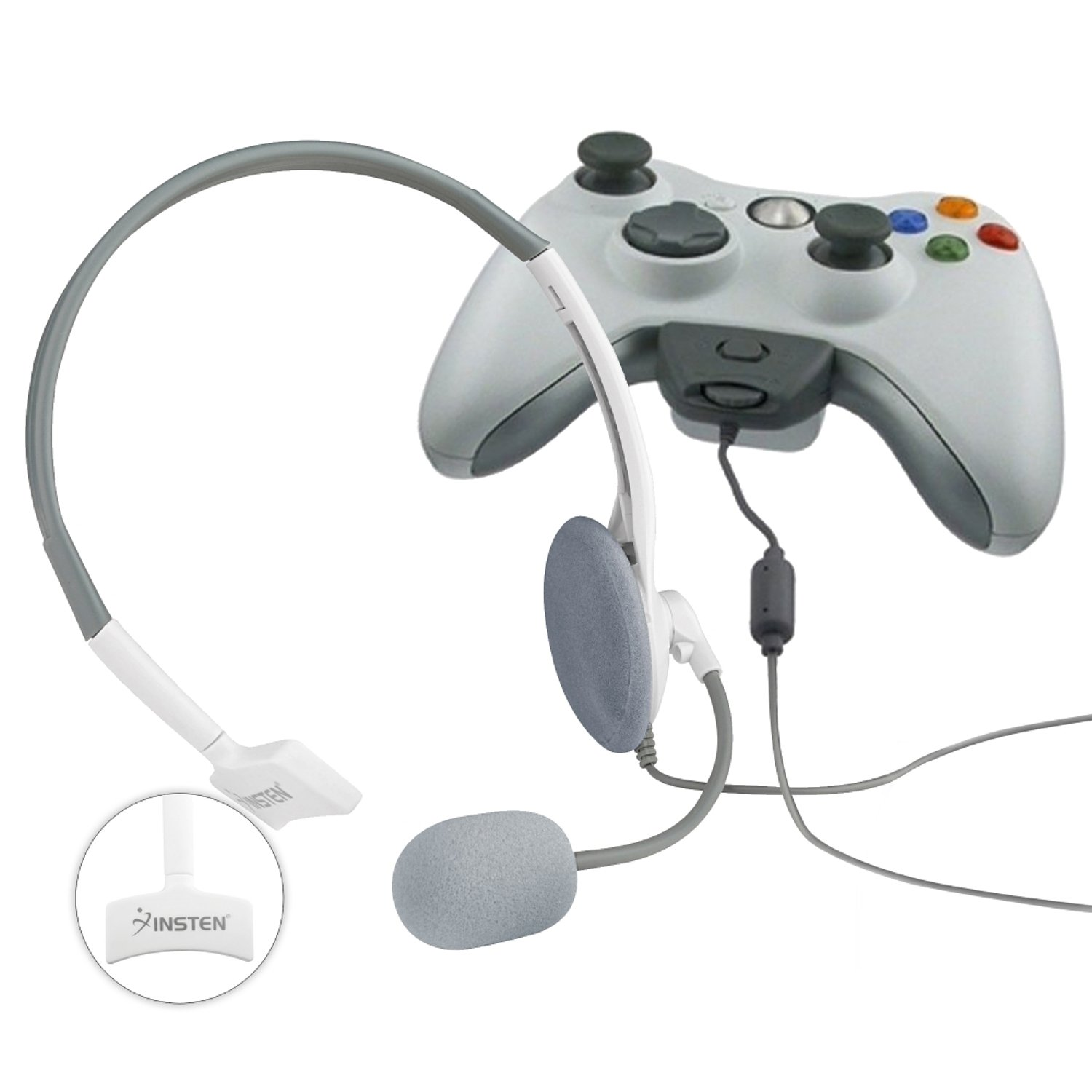2 x Insten Live White Headset Headphone+Mic Compatible with Xbox 360 Wireless Controller by INSTEN
