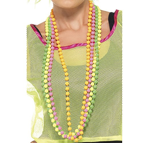 4 Strands of Neon Multicoloured Beads Necklaces for 80s dress-up