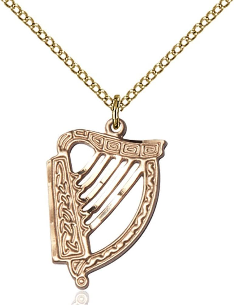 Gold Filled Irish Harp Pendant 7//8 X 5//8 inches with 18 inch Gold Filled Curb Chain