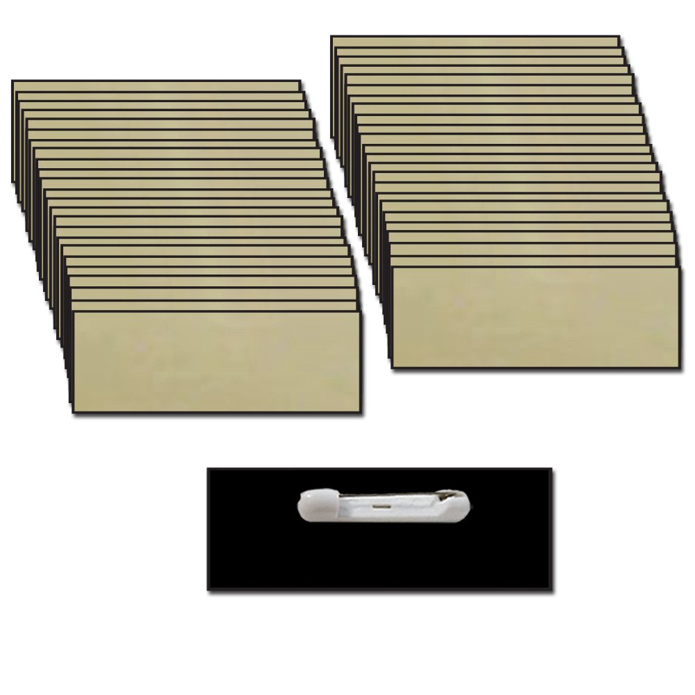 Name Badges with Pin Fastener - 50 Pk Kit Includes Crystal Clear Labels - Gold Plastic Name Tags with Beveled Edges 1.25'' X 3''