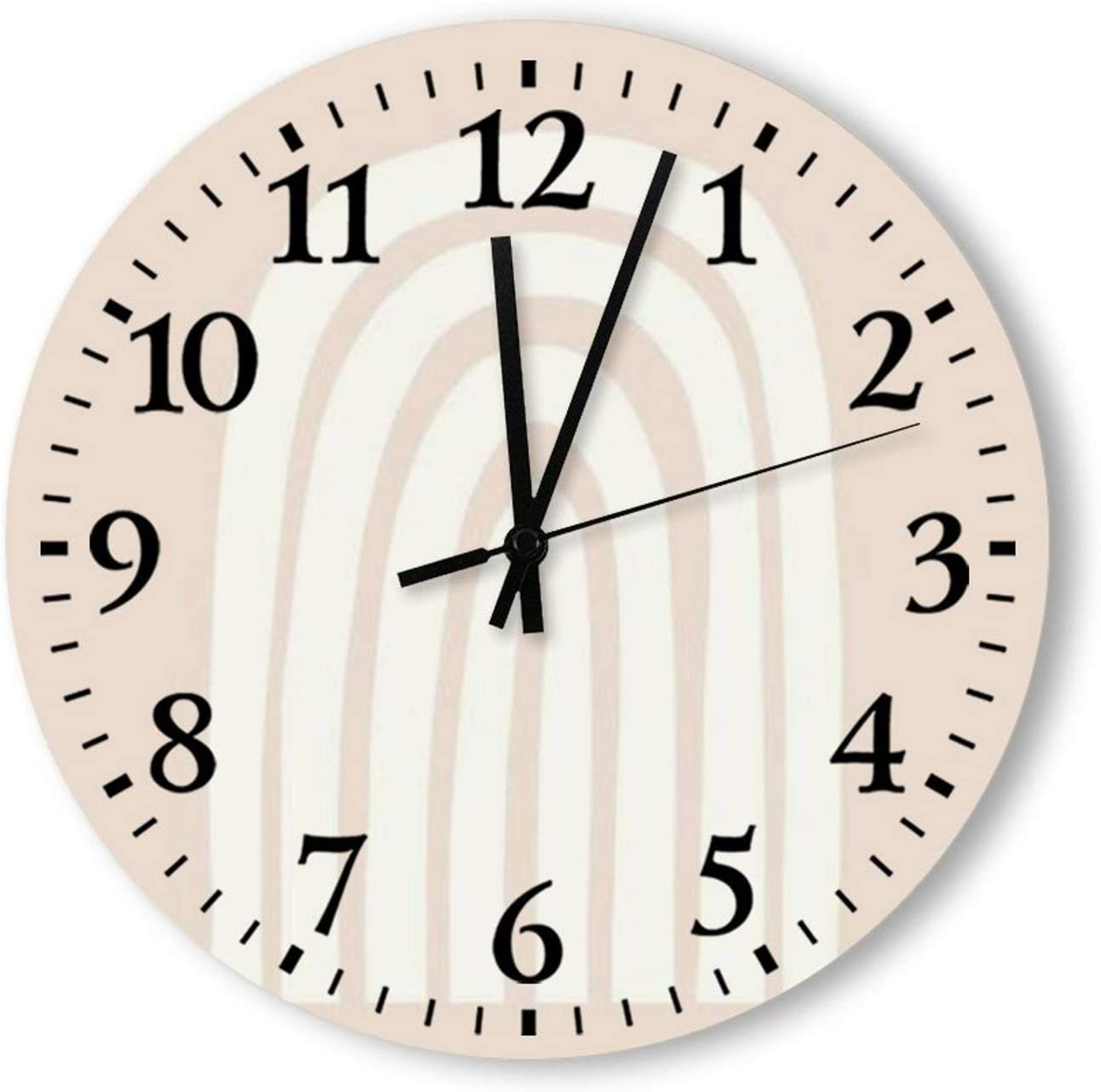 Round Wood Wall Clock Home Decor,Minimalist Pink Boho Rainbow Pattern, Battery Operated, no Ticking Sound, for Home, The Kitchen, Living Room, Bedroom, Restaurant or Office, Made in US