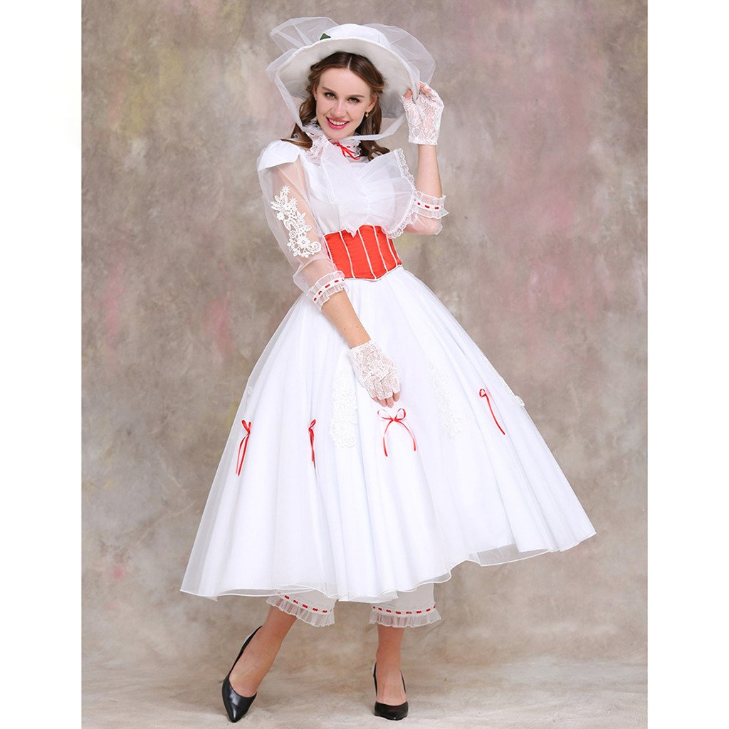 Movie Mary Poppins Dress Princess Costume Adult Women Cosplay