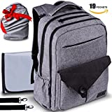 Travel Waterproof Laptop Backpack Diaper Bag – for Smart Mom and Dad – Stylish Design, Insulated Pockets, Multi-Functional Storage + FREE Portable Changing Pad – Perfect Baby Shower Gift by KidIs For Sale
