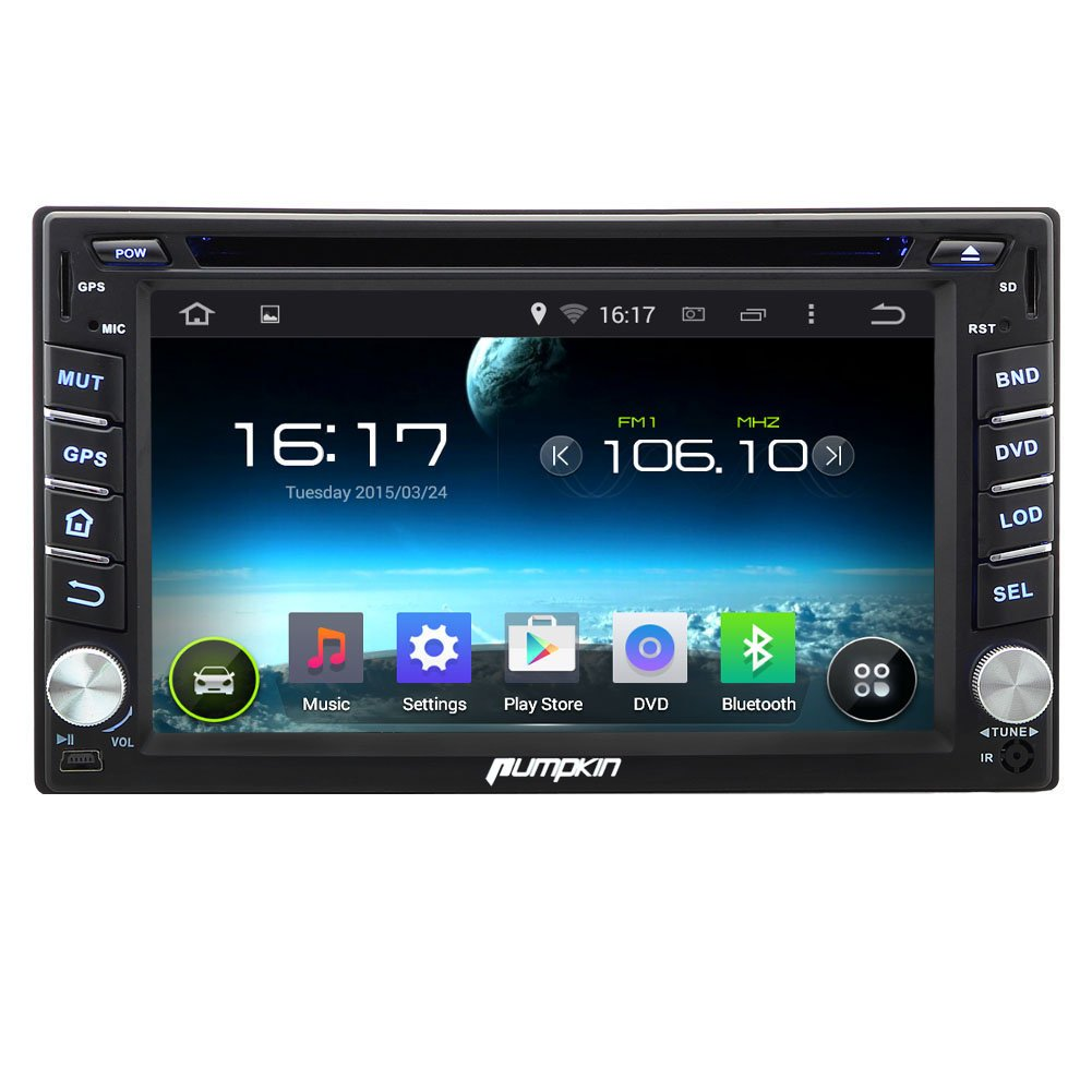 Pumpkin Android 444 Kitkat Car Dvd Player 62 Inch Direct Tv Wiring Diagram In Addition Headrest Double Din Dash Capacitive Hd Multi Touch Screen Gps Navigation Radio Stereo Support