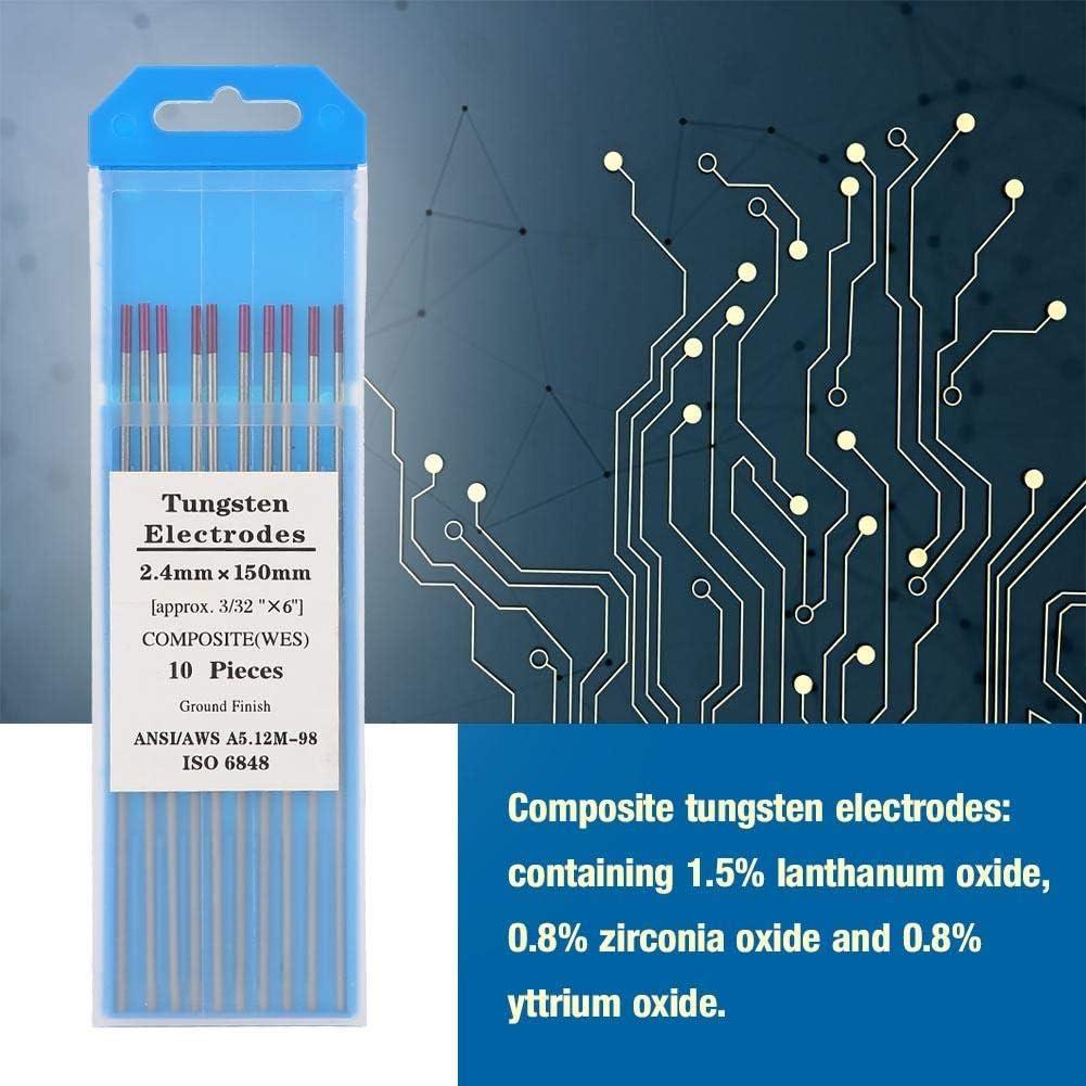 Paquete de 10 electrodos de tungsteno compuestos Electrodos de soldadura de tig Electrodos de tungsteno Electrodos de tungsteno morado 2.4 150 mm