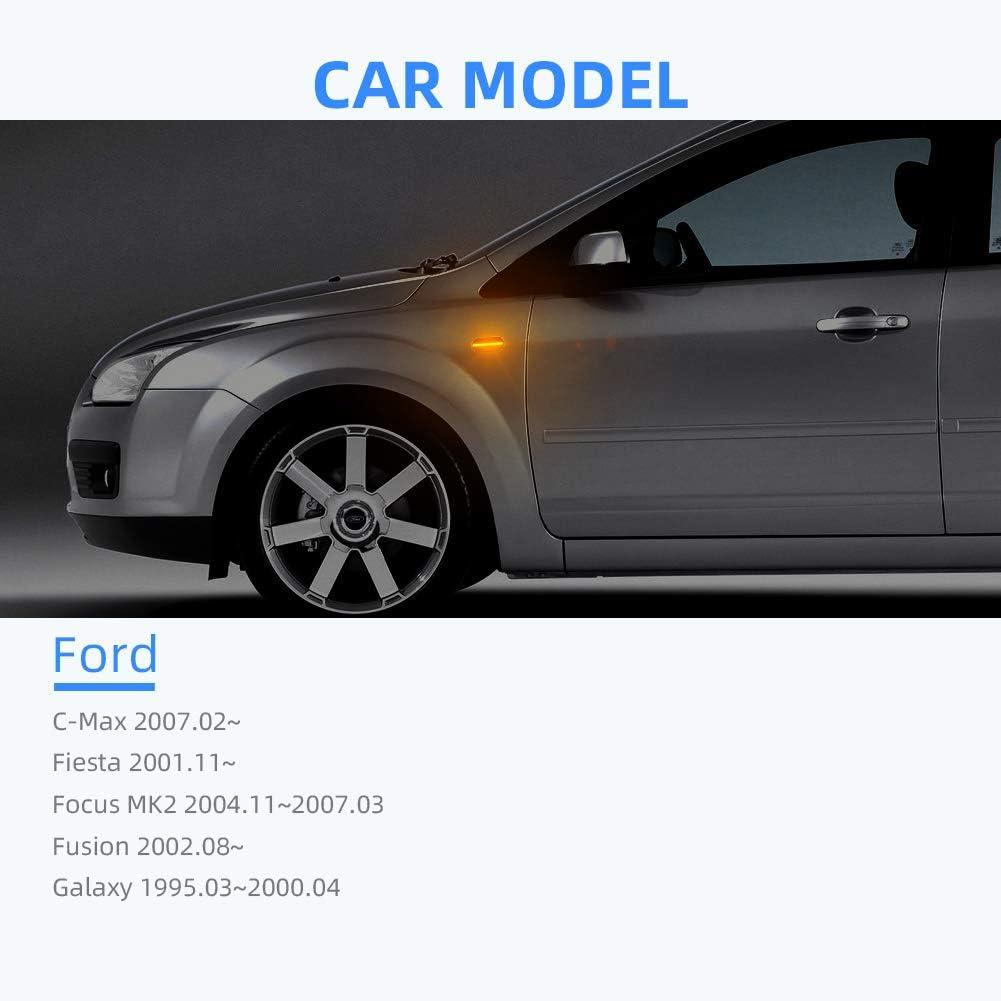 OZ-LAMPE LED Luci laterali Indicatori di direzione lampeggiamento dinamico trasparente 1 paio per F-o-r-d Fiesta Focus MK2 C-Max Fusion Galaxy