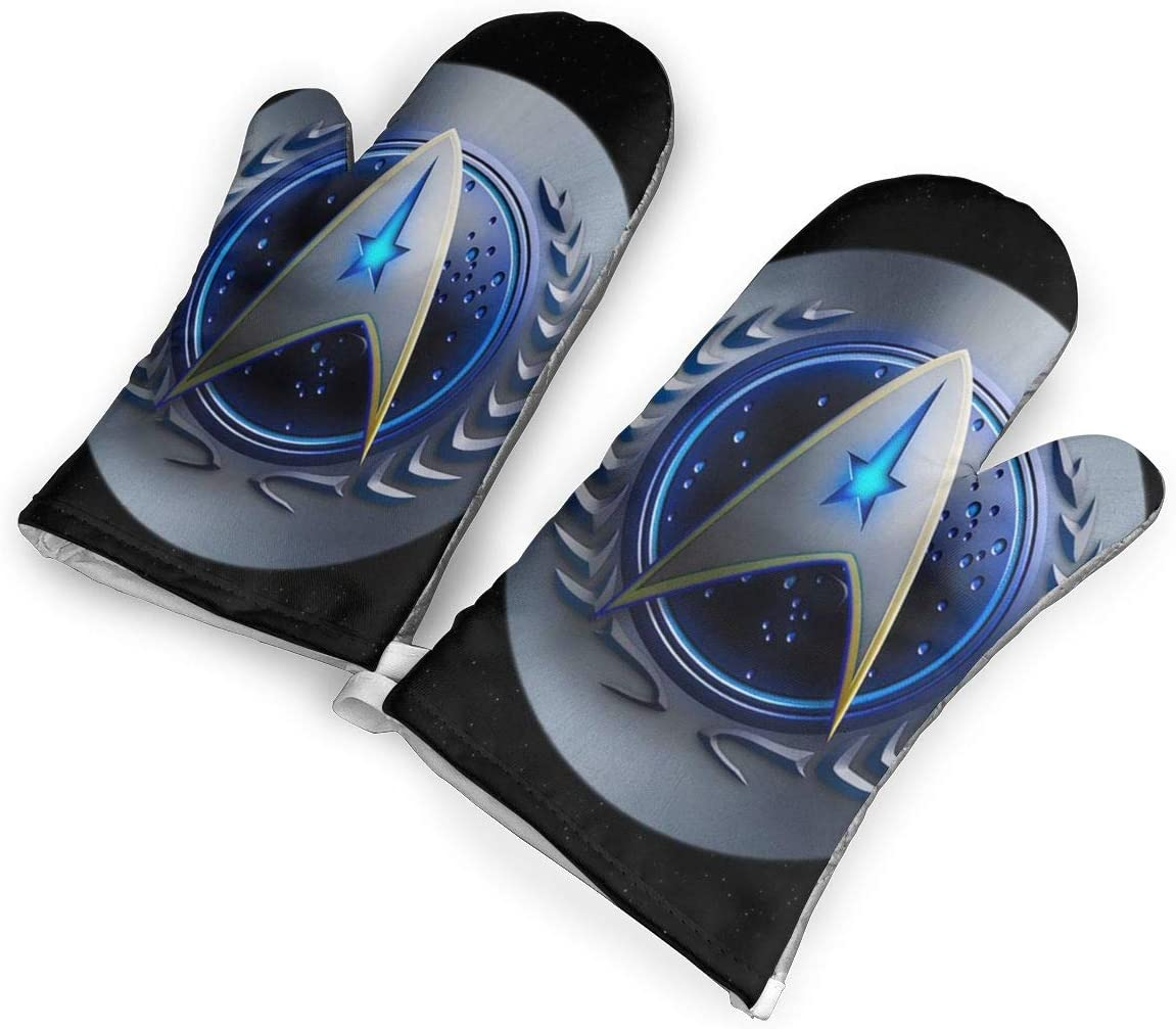 not Star Trek Federation Logo Oven Mitts with Polyester Fabric Printed Pattern,1 Pair of Heat Resistant Oven Gloves for Cooking,Baking,Grilling,Barbecue Potholders