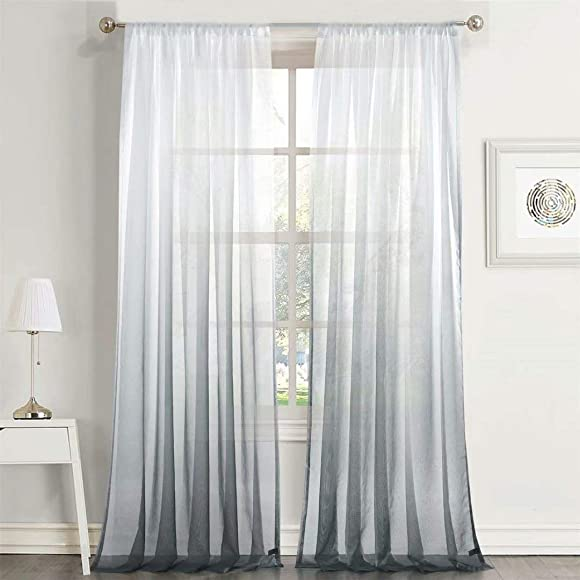 Mitlatem Grey Sheer Curtains Ombre Divider Rod Pocket Semi Sheer Window Drapes 84 Inches Long for Bedroom Grey, 52 W x 84 L