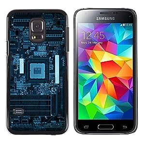 EJOY---Cubierta de la caja de protección la piel dura para el / Samsung Galaxy S5 Mini, SM-G800 / --Azul PCB Junta Esquemas