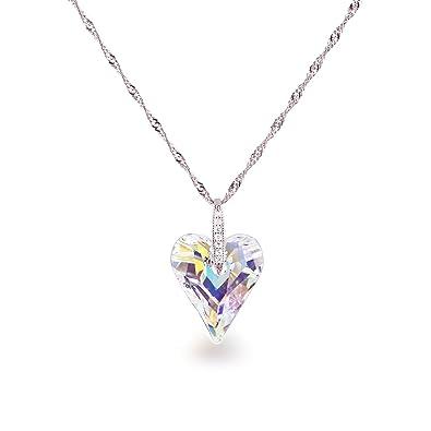 Swarovski® Kristall Wild Heart Herz Anhänger in Crystal Aurora Boreale mit  925 Silberkette 42cm  Amazon.de  Schmuck a72e91a03b