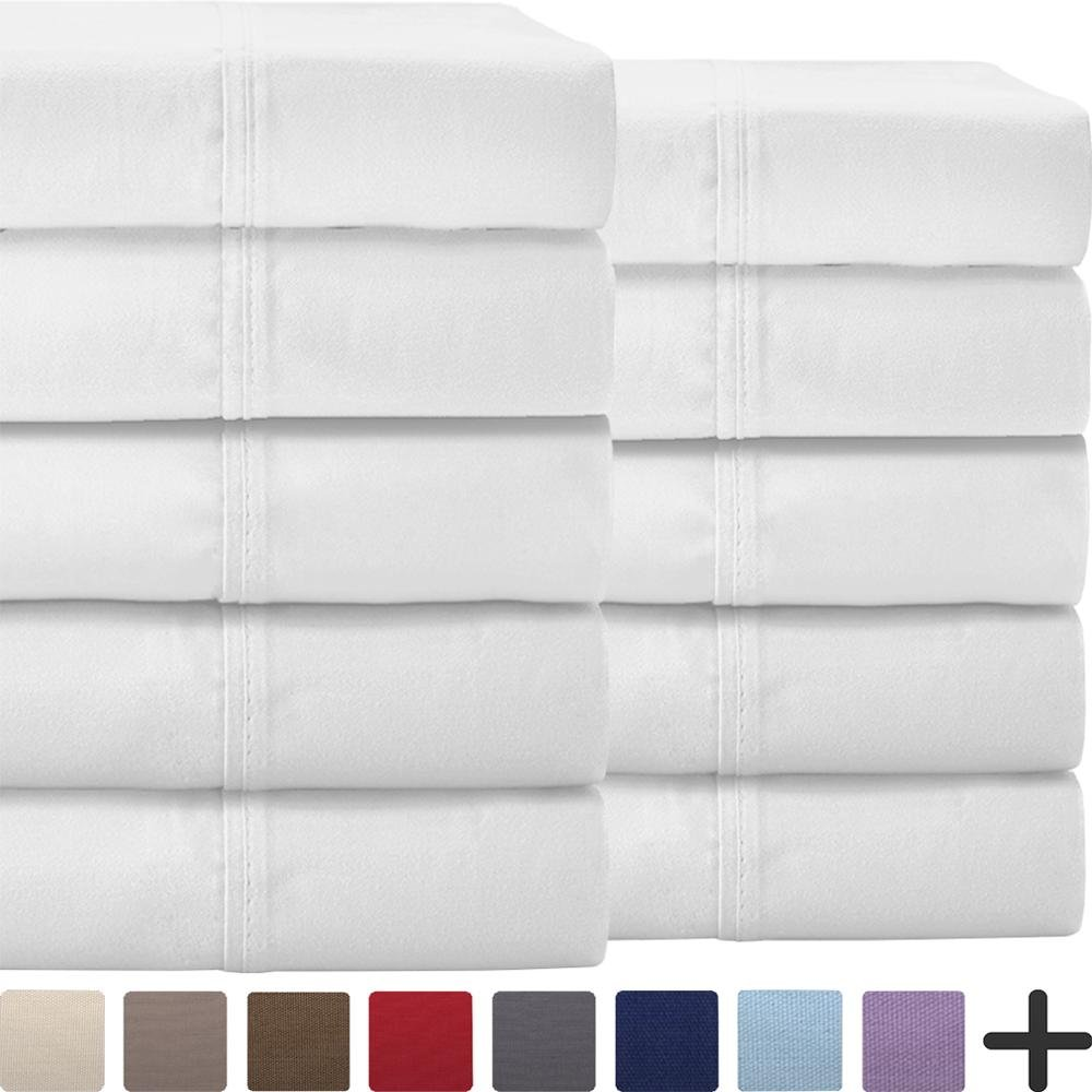 Bare Home Bulk Sheet Set 10 Pack Twin – Premium Ultra-Soft 1800 Double Brushed Microfiber - Hypoallergenic – Wholesale (Twin, White)