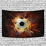 Sunlome Sport Pattern Home Decor, Flamy Soccer Symbol Pattern Tapestry Wall Decor Art for Living Room Bedroom Decoration 60 X 40 Inches
