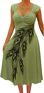 product image for Funfash Plus Size Women Slimming Olive Sage Green Peacock Cocktail Cruise Dress