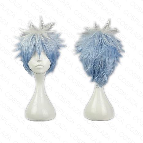 COSPLAZA Gintoki Sakata gintama mixto, color blanco y azul corto Boy Anime Cosplay Pelucas