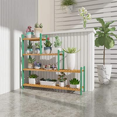 Ceramic vases Wrought Iron Multi-Functional Partition Flower Stand, Indoor Living Room Decoration Balcony Multi-Layer Trapezoidal Flower Shelf, Outdoor Hanging,vase, Patio,Wedding (Color : Green): Home & Kitchen