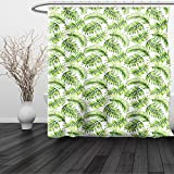HAIXIA Shower Curtain Palm Leaf Exotic Pattern with Tropical Leaves in Watercolor Art Style Jungle Luau Hawaii Fern Green