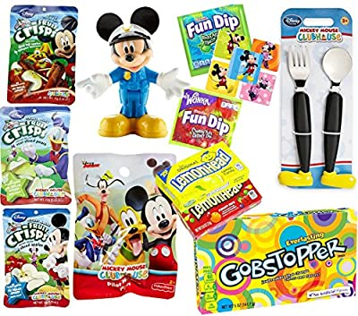 Mickey Mouse Flatware Treats Candy Pack / Snack Pack Dreeze Dried Fruits & Disney Clubhouse Figure Fun size Candy Magic Dip / Chewy Fruity Lemonheads & Gobstoppers Theater Box