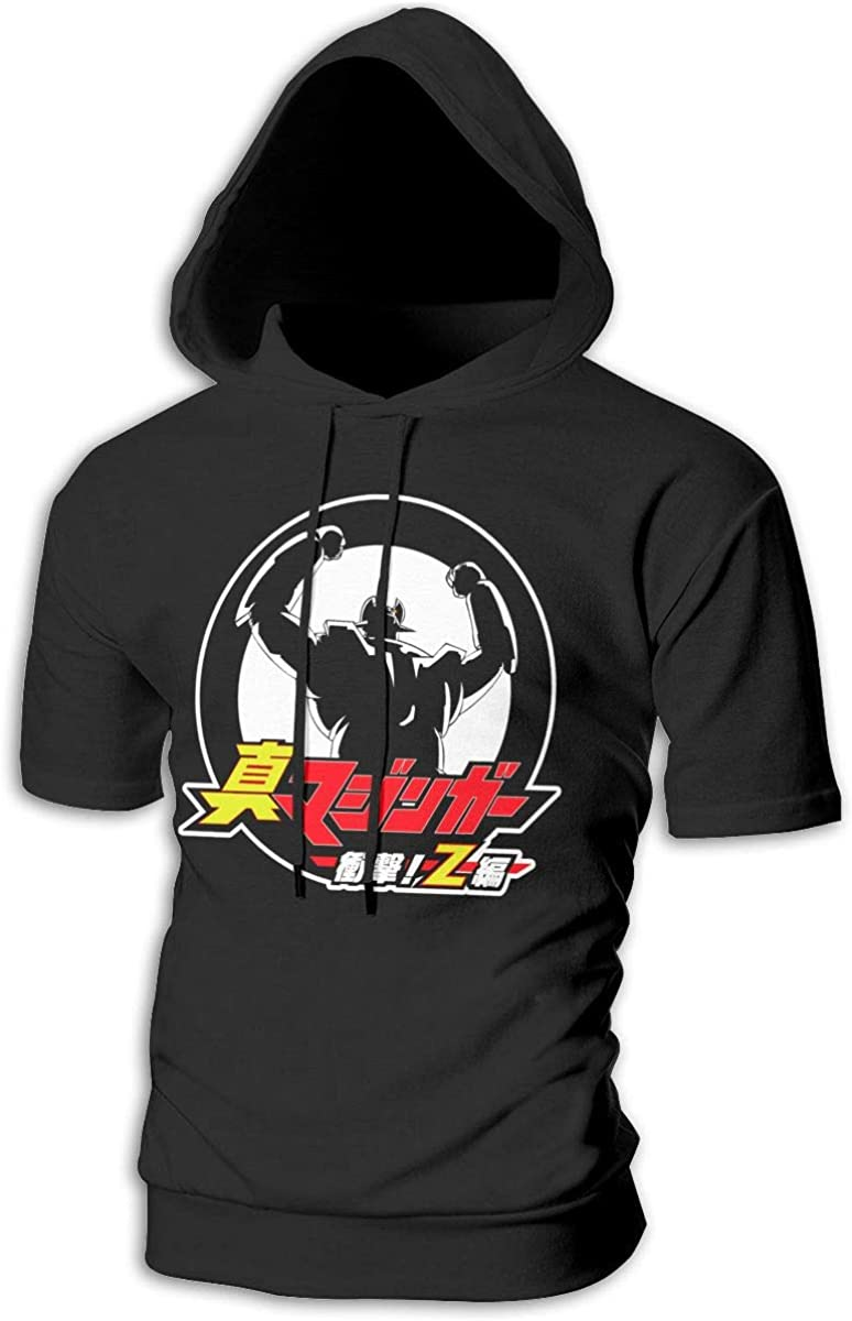 BilliePhillips Men Mazinger Z Classic Drawstring Short Sleeve Hooded