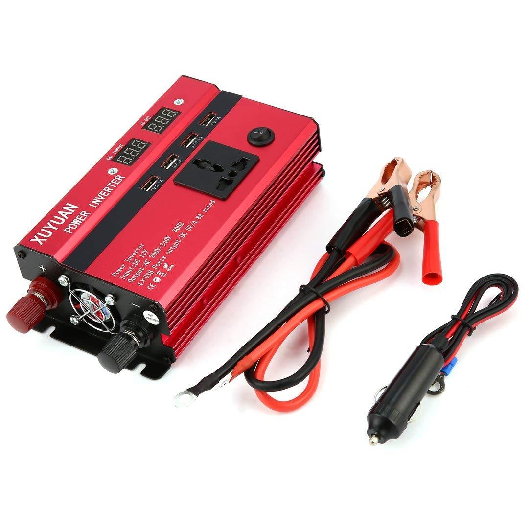 Inverter per energia solare Pudincoco 3000W DC 12V to AC 220V Convertitore sinusoidale per display LED Colore: rosso