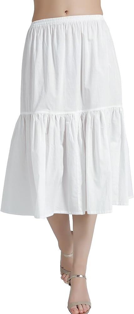 Mujer Enagua de Algodón Antiestática Larga Combinación para Vestido Antideslizante Plisado Plain Falda Blanco Marfil Negro: Amazon.es: Ropa y accesorios