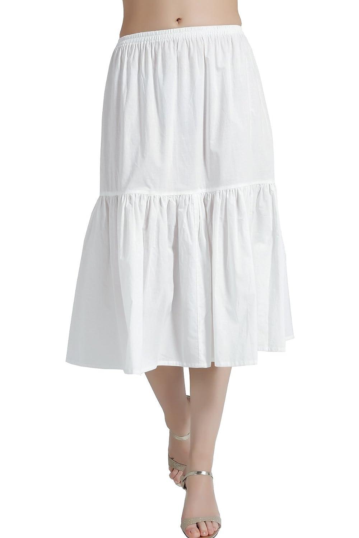 Damen Unterrock 100% Baumwolle mit Rüschenrand Petticoat Crinoline Vintage Kurz Lang Underskirt Antistatisch Weiß Schwarz Elfenbein in 5 Unterschiedliche Länge P24