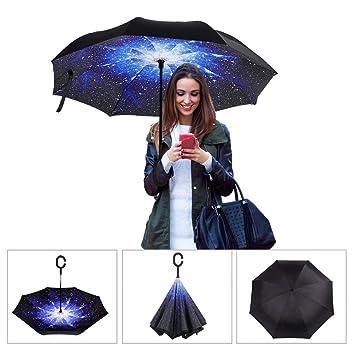 HOMEMJX Paraguas plegable multifunción, Innovador C Forma Manos Paraguas Doble Capa a Prueba de Viento