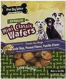 Three Dog Bakery Classic Wafers Baked Dog Treats, Miniature Carob Chip, Vanilla and Peanut Flavors, 13 oz