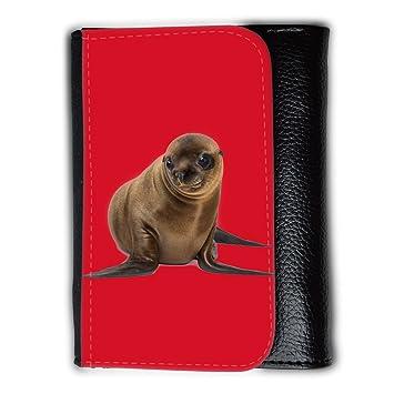 Cartera para hombre // Q05740624 León marino lindo Cadmio Rojo // Medium Size Wallet: Amazon.es: Electrónica
