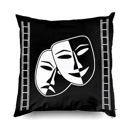 TOMWISH Hidden Zippered Pillowcase Home Theater Movie Ticket Cinema Decor  18X18Inch,Decorative Throw Custom Cotton