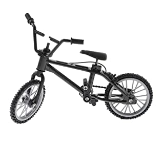 Fityle Alloy Finger Mountain Bike, Mini Metal Bicycle Model (1/24 Scale) Cool Boy Toy Collectible Art Crafts - Black