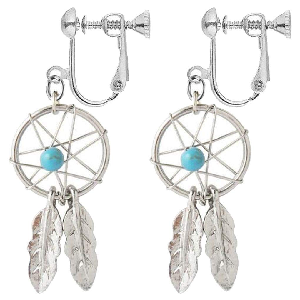 Dream Catcher Clip on Dangle Earrings Turquoise Stone Leaf Feather Drop Silver-Tone for Girls Gift