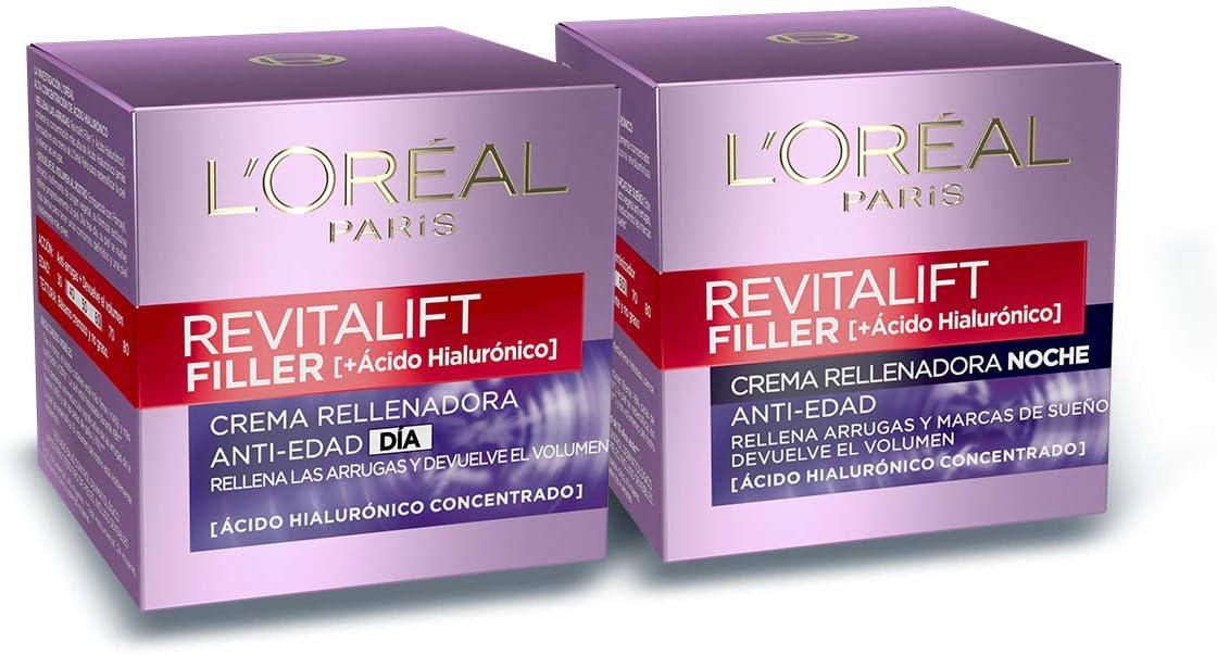 Set de Crema de Día + Crema de Noche, con Ácido Hialurónico Revitalift Filler, Set de Cremas Faciales Rellenadoras y Antiarrugas, 50 ml Cada Una, L'Oréal Paris