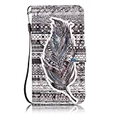 For Galaxy J3(2016) Case, Samsung Galaxy J310 Case [With Free Tempered Glass Screen Protector],Fatcatparadise(TM) [Kickstand] High Quality Excellent Cover Case, Colorful 3D Pattern Design Flip Magnetic Premium Folio PU Leather Credit Card/Cash Holder Slots Wallet Fashion Ultra Slim Fit Protective Case Cover For Samsung Galaxy J3(2016)/J310(Black Feather)